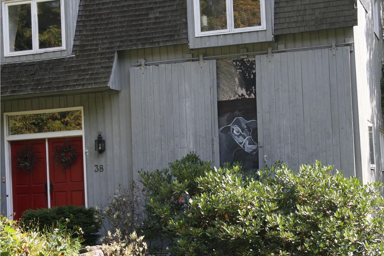 Sliding barn doors beyond the farm for Sliding front door house