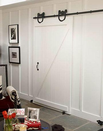 White interior barn door