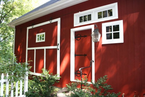 red sliding barn door