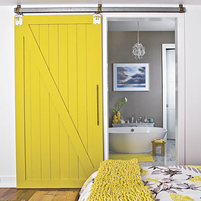 Sliding barn doors beyond the farm for Farm door ideas