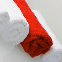 rolled up red towel