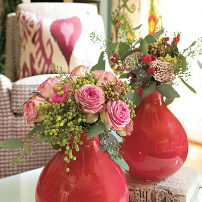 Mixed Floral Arrangement in Red Vase