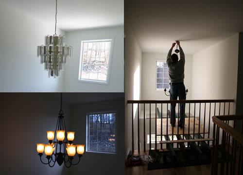 DIY Scaffolding To Hang Foyer Light