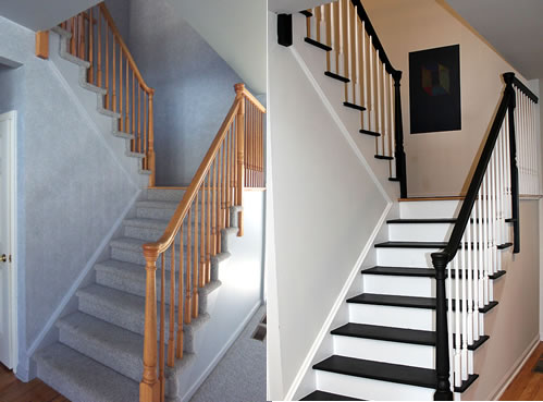 DIY painted stairs before and after