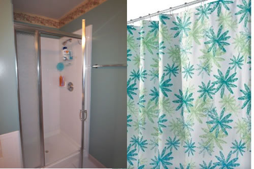 replaced shower door with stall shower curtain