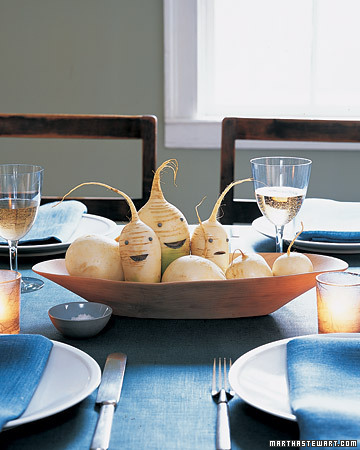martha stewart vegetable root centerpiece