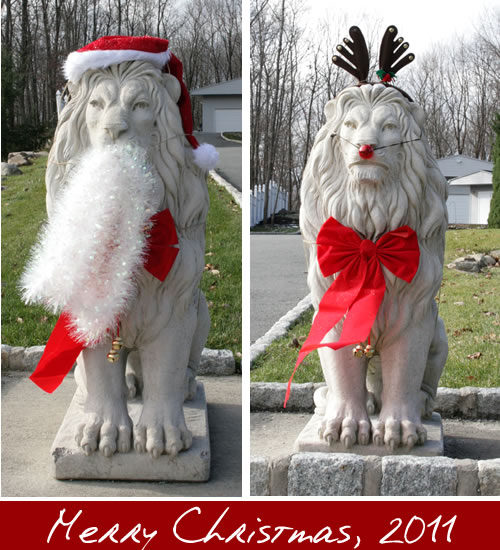 lion statues dressed for Christmas