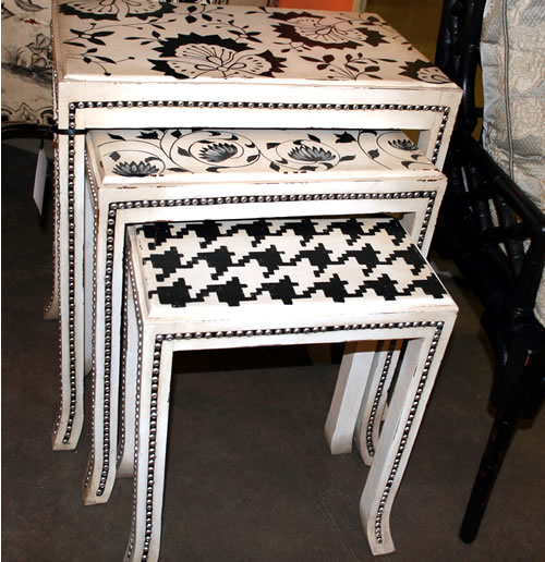 painted nesting tables with nail head embellishment