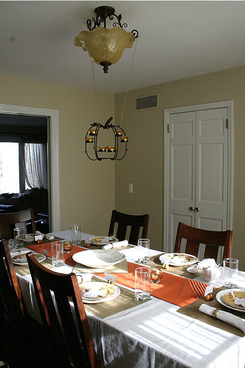 thanksgiving tablescape with orange