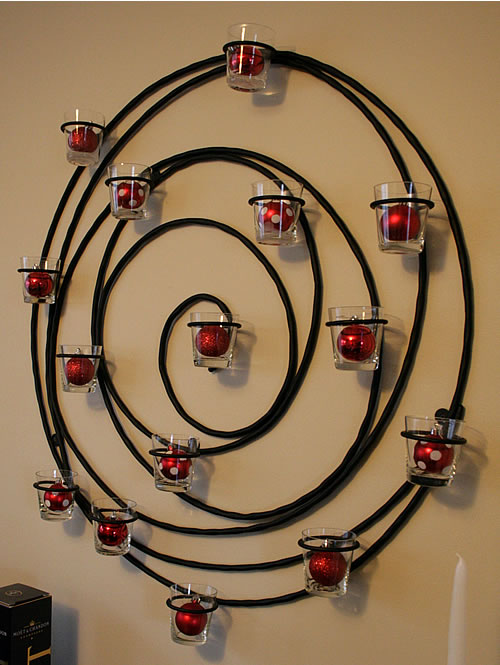 hanging votive wreath with Christmas ornaments