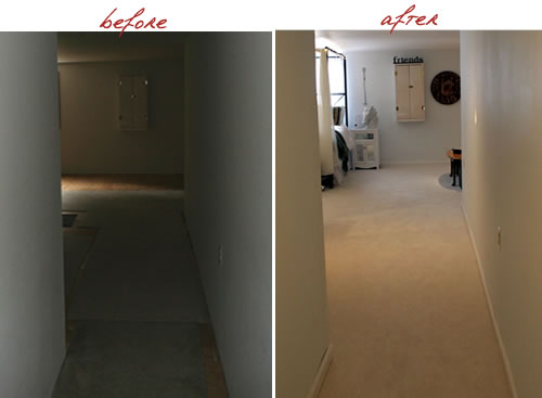 bedroom hallway before and after