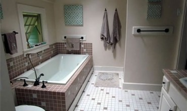 master bathroom with updated fixtures