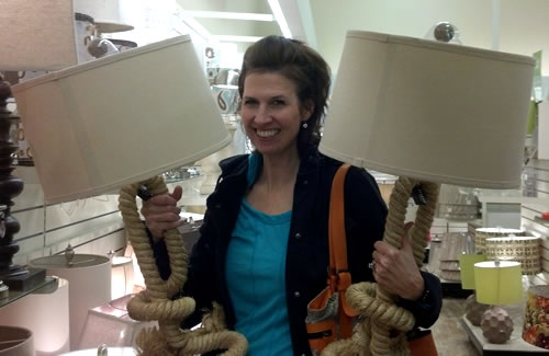Shopping for lamps at HomeGoods
