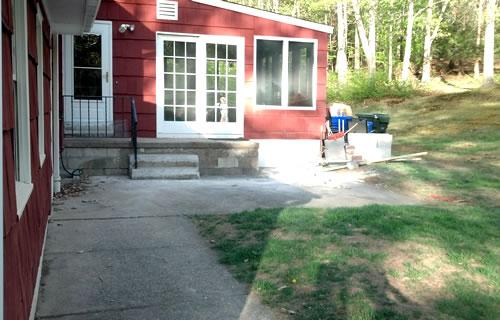 small concrete patio before