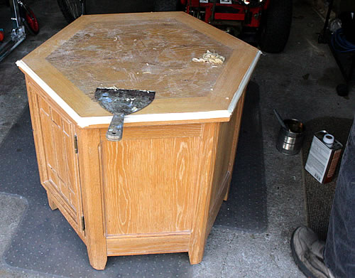 stripping top of end table