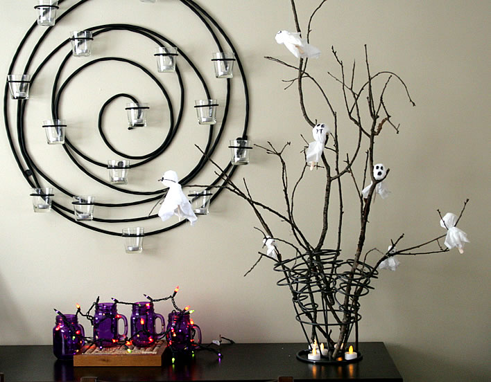 halloween boo tree winerack with branches and ghosts