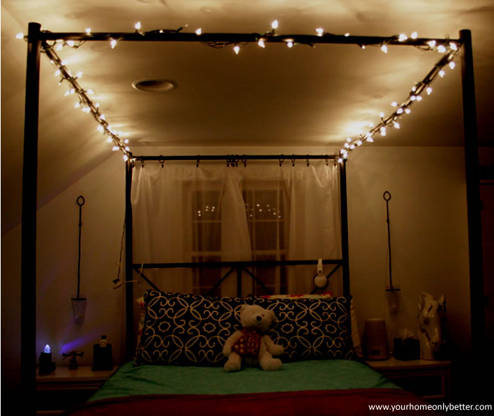 Canopy Bed With String Lights Teen Bedroom Diy Decor Yourhomeonlybetter