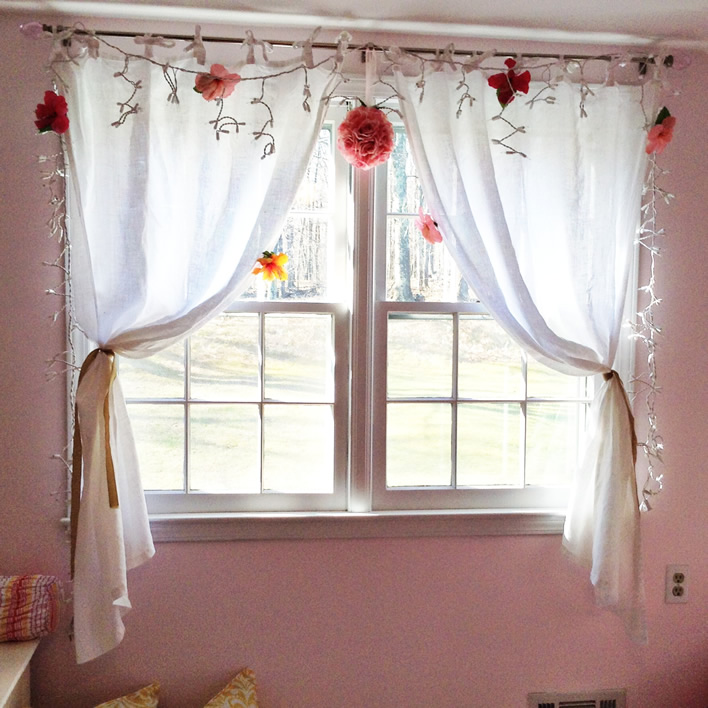 Pink And Yellow Bedroom - String lights for girls bedroom